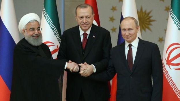 Hasan Rohaní, Recep Tayyip Erdogan y Donald Trump.