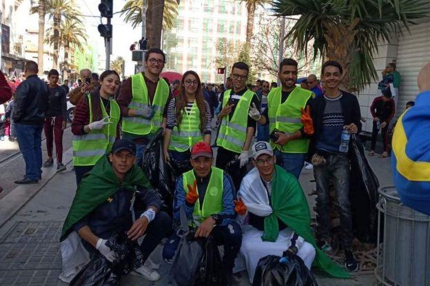 Nacerddine Rahmoune and plogging group at protest