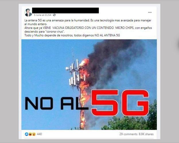 منشور باللغة الاسبانية في بيرو يقول لا لتكنولوجيا الجيل الخامس