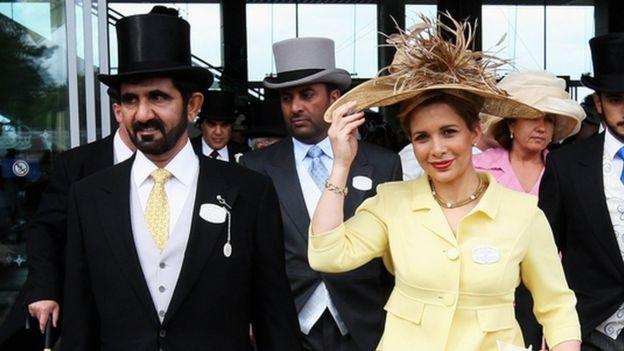 Mohammed bin Rashed al-Maktoum y la princesa Haya Bint al-Hussein de Jordania en 2008.