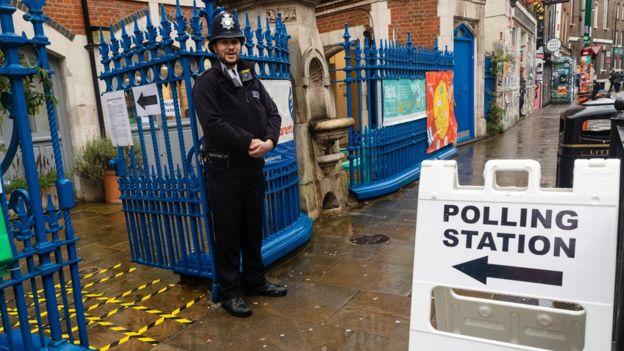 Centro de votación en Londres