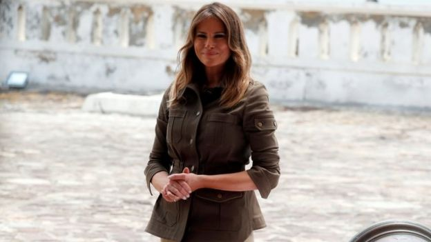 Melania Trump looks on during a visit to Cape Coast castle, Ghana, October 3, 2018.