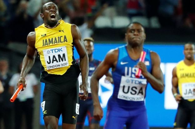 Usain Bolt en el momento que se produce su lesión