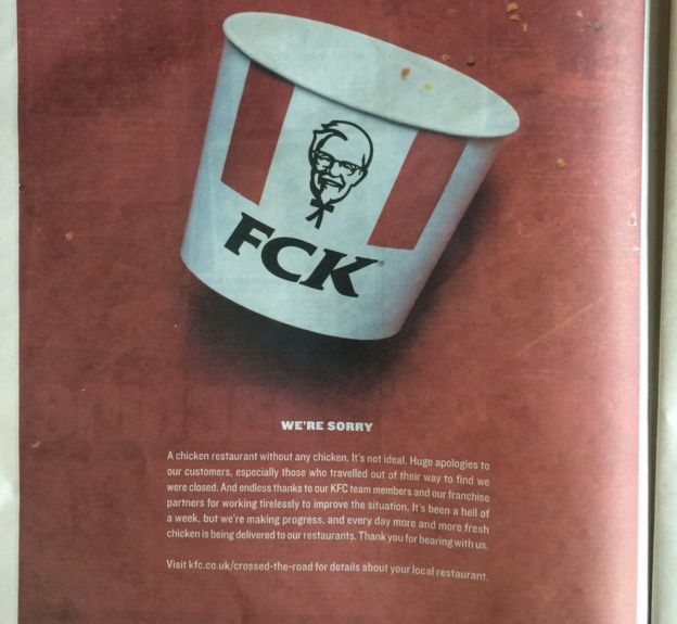 Kfcs Apology For Running Out Of Chicken Is Pretty Cheeky Bbc News