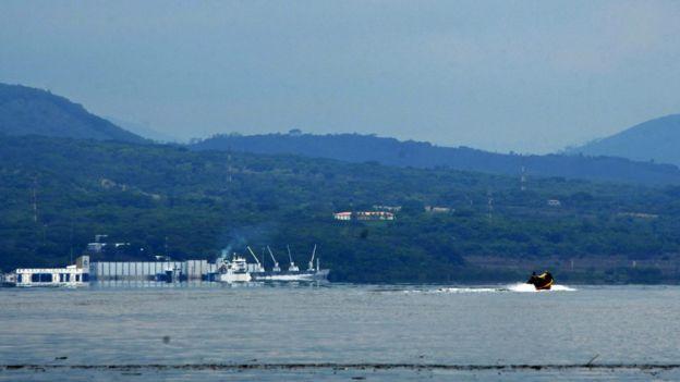 View of the port of La Union, El Salvador, from Conejo Island, Honduras, on May 27, 2018.