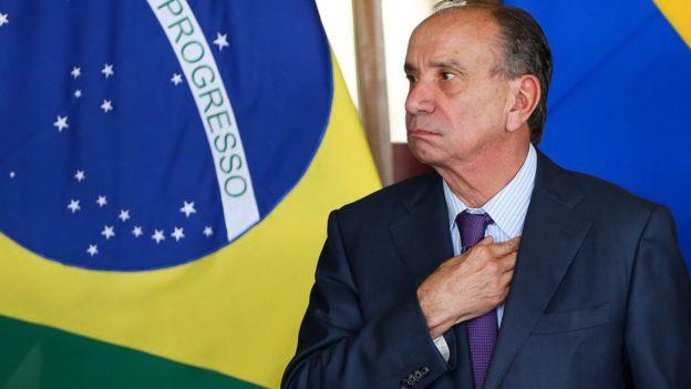 O ministro de Relações Exteriores, Aloysio Nunes, durante cerimônia de assinatura de acordos entre Brasil e Colômbia em fevereiro de 2018