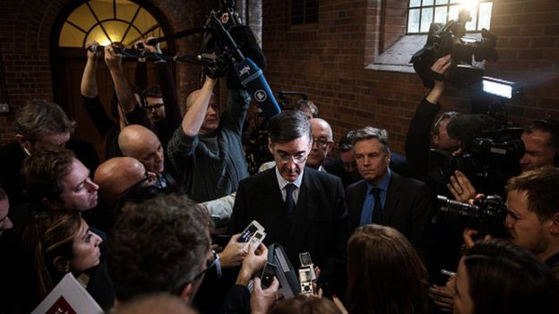 Conservative MP Jacob Rees-Mogg takes questions from journalists at a European Research Group (ERG) press conference at the Emmanuel Centre on November 20, 2018 in London, England. The ERG today published a paper which outlines, what they say, are the benefits of leaving the customs union after Brexit