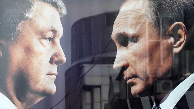 Петро Порошенко та Володимир Путін, банер на виборах