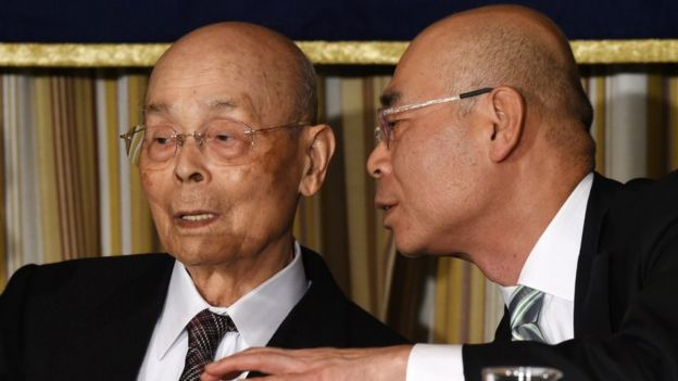 Jiro Ono, left, and his son, Yoshikazu Ono