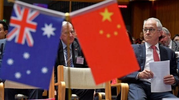 Australian PM Malcolm Turnbull is seated at an Australia China Business Council event last week, next to the flags of Australia and China