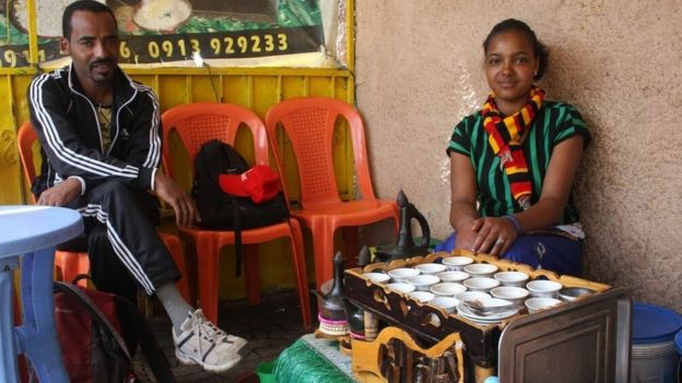 Examples of pop-up businesses selling tea and coffee that abound across Addis Ababa