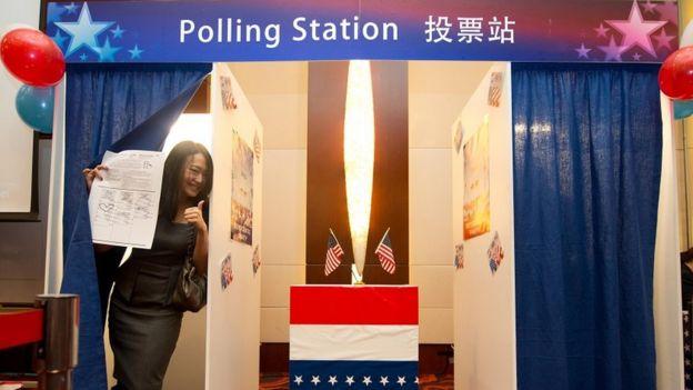 2012年,美国驻北京大使馆的投票站