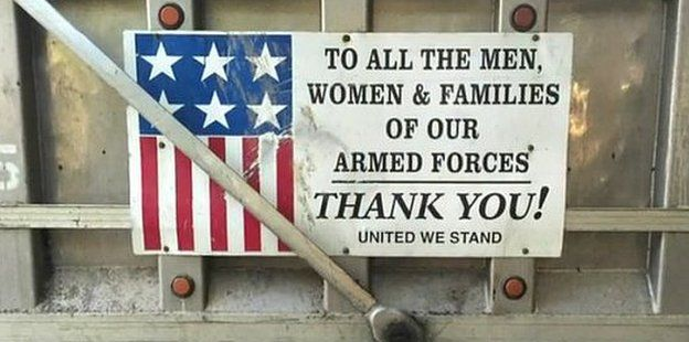 Sign thanking heroes