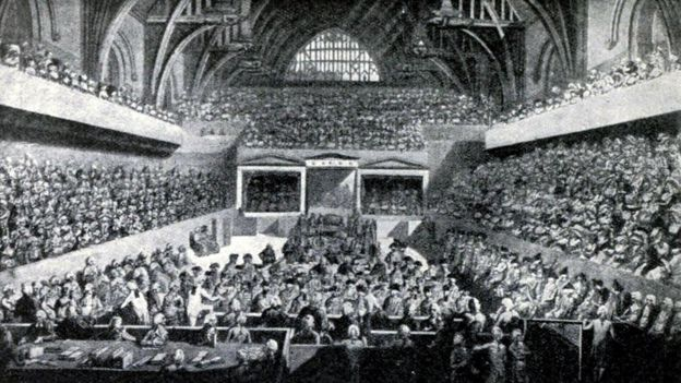General Warren Hastings' impeachment trial in 1788