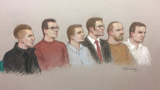 Courtroom sketch of Garron Helm, Michal Trubini, Andrew Clarke, Matthew Hankinson, Christopher Lythgoe and Jack Renshaw appearing at the Old Bailey on 11 June 2018