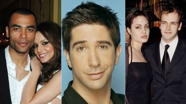 From left to right: Cheryl and Ashley Cole, Ross from Friends, Angelina Jolie and Johnny Lee Miller