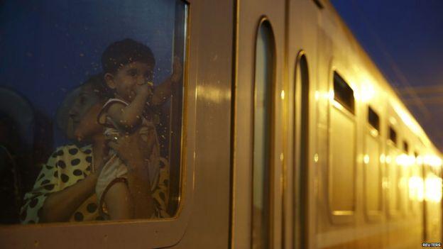 Migrants on a train in Croatia