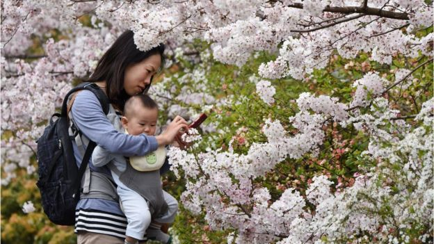 Japanese woman with baby