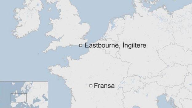 Eastbourne ve Fransa harita