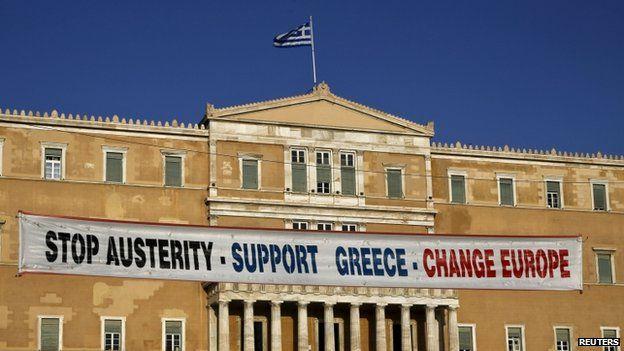 Banner on Greek parliament
