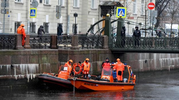 Divers search the Moika river