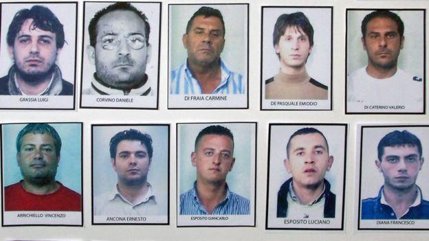 Integrantes da máfia de Gomorra, em foto divulgada pela polícia italiana