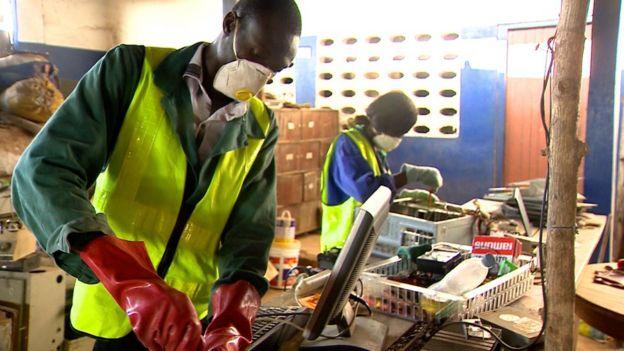 Men repurposing discarded wastes