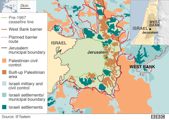 Us to recognise jerusalem as israels capital bbc news map of jerusalem publicscrutiny Images