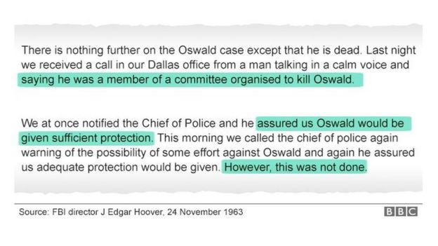 این یادداشت رئیس وقت افبیآی جی. ادگار هوور است که تاریخ ۲۴ نوامبر ۱۹۶۳ یعنی روزی که لی هاروی اسوالد ترور شد را بر خود دارد