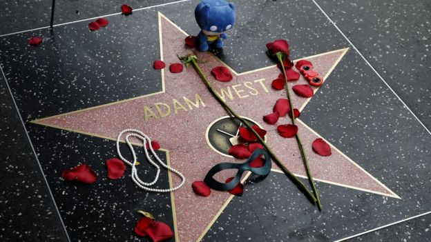 Flowers left on the star of the late US actor Adam West on the Hollywood Walk of Fame, California, 10 June 2017