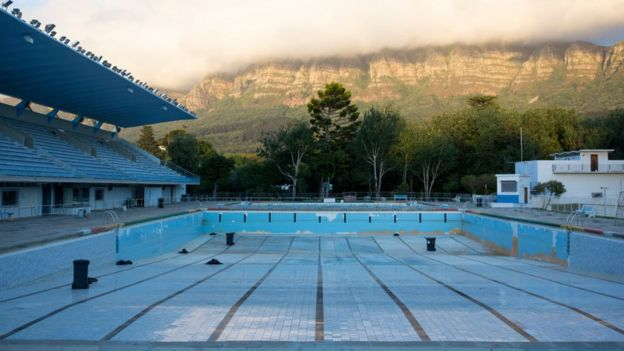 An empty public swimming pool in Newlands, outside Cape Town, February 2018