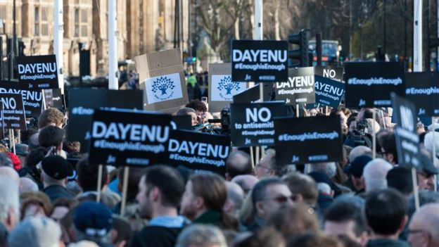 A protest against alleged anti-Semitism in the Labour part in Parliament Square, London