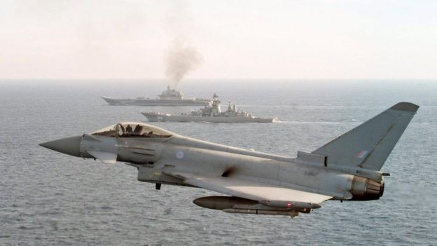 RAF Typhoon escorting the Russian warship Admiral Kuznetsov