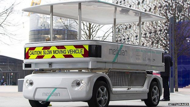 A driverless vehicle known as a Meridian shuttle during a photocall in central London on 11 February, 2015