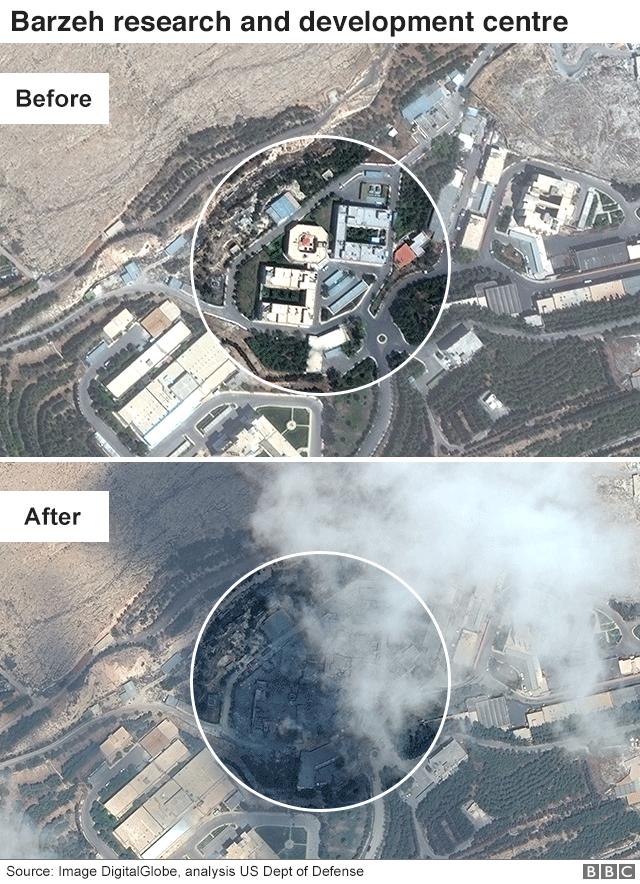 صورة من الأقمار الصناعية، قبل وبعد الضربات، في مركز برزة للدراسات والبحوث العلمية 14أبريل/نيسان 2018