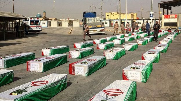 تابوتهای بازمانده تن سربازان ایرانی