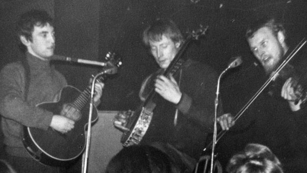 Mike Heron, Clive Palmer and Robin Williamson on stage at Clive's Incredible Folk Club in 1966