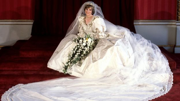 The Princess of Wales in her wedding dress on her wedding day