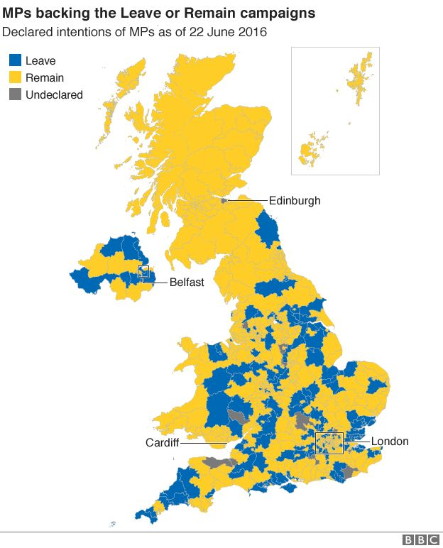 map showing a breakdown of which mps are backing the leave and remain campaigns