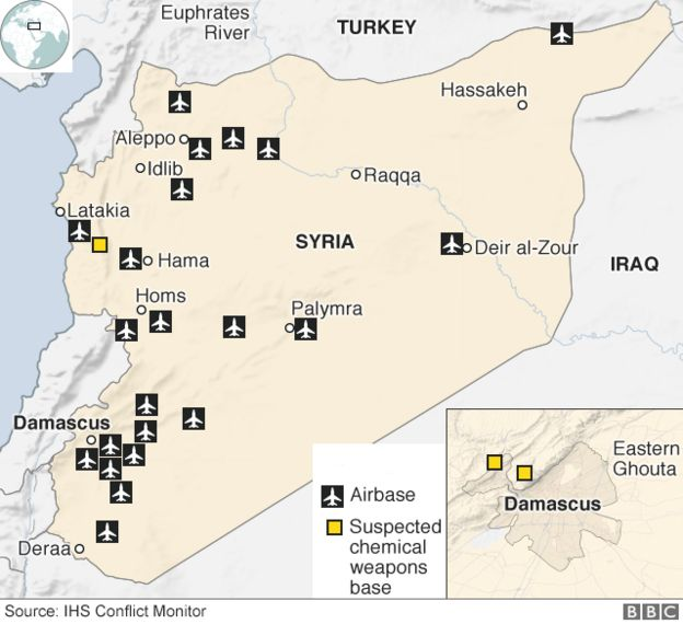 Map showing airbases in Syria and suspected chemical weapons bases