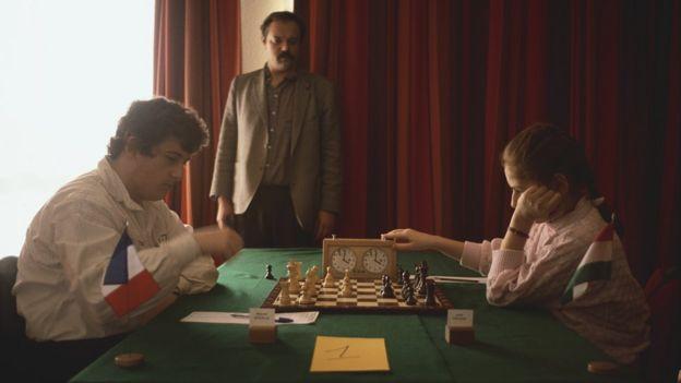 Judit Polgar, jugadora húngara de ajedrez, con 12 años
