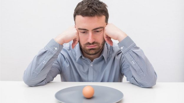 Man looking sad while looking at an egg on a plate