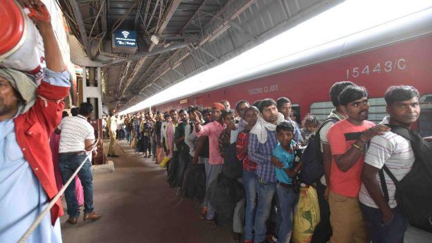 New Delhi railway station queue
