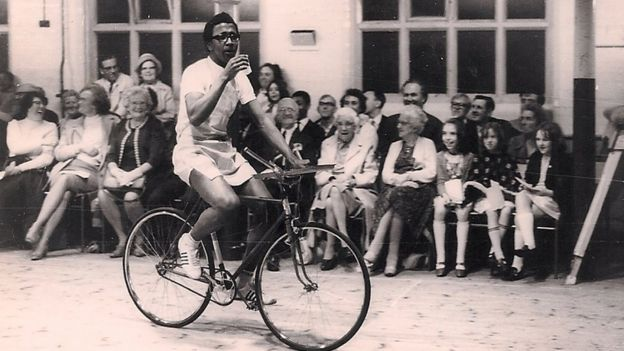 Derrick Evans on a bike