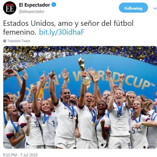 Captura de pantalla del tuit del diario El Espectador.