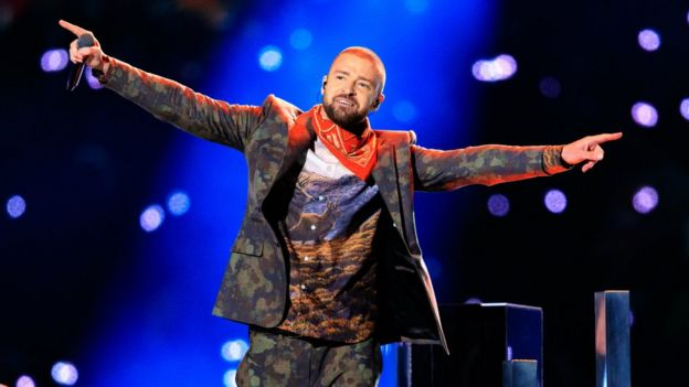 Justin Timberlake at Super Bowl half-time show