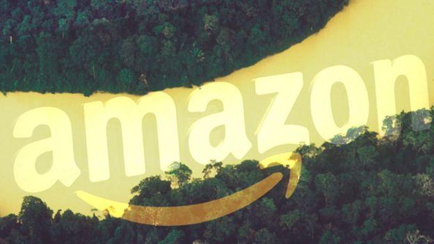 Uma colagem mostrando o rio Amazonas e o logotipo da Amazon Inc.