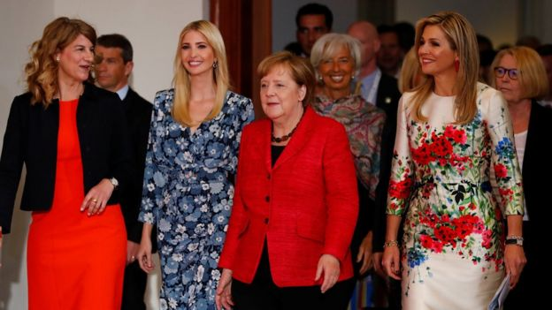 Daughter of U.S. President Ivanka Trump, German Chancellor Angela Merkel and Queen Maxima of the Netherlands, UN Secretary General