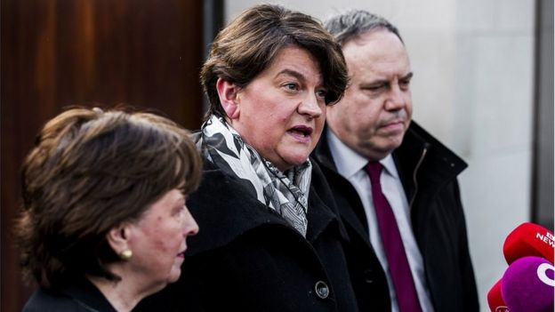 DUP leader Arlene Foster speaking after meeting Leo Varadkar in Belfast