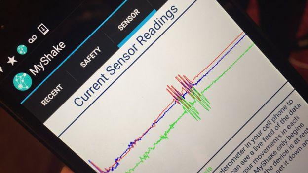 Imagen de la pantalla de un teléfono inteligente con la app MyShake